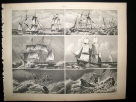 Maritime 1857 Antique Print. Sail Ships 27